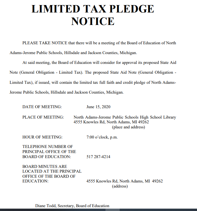 Limited Tax Pledge Notice