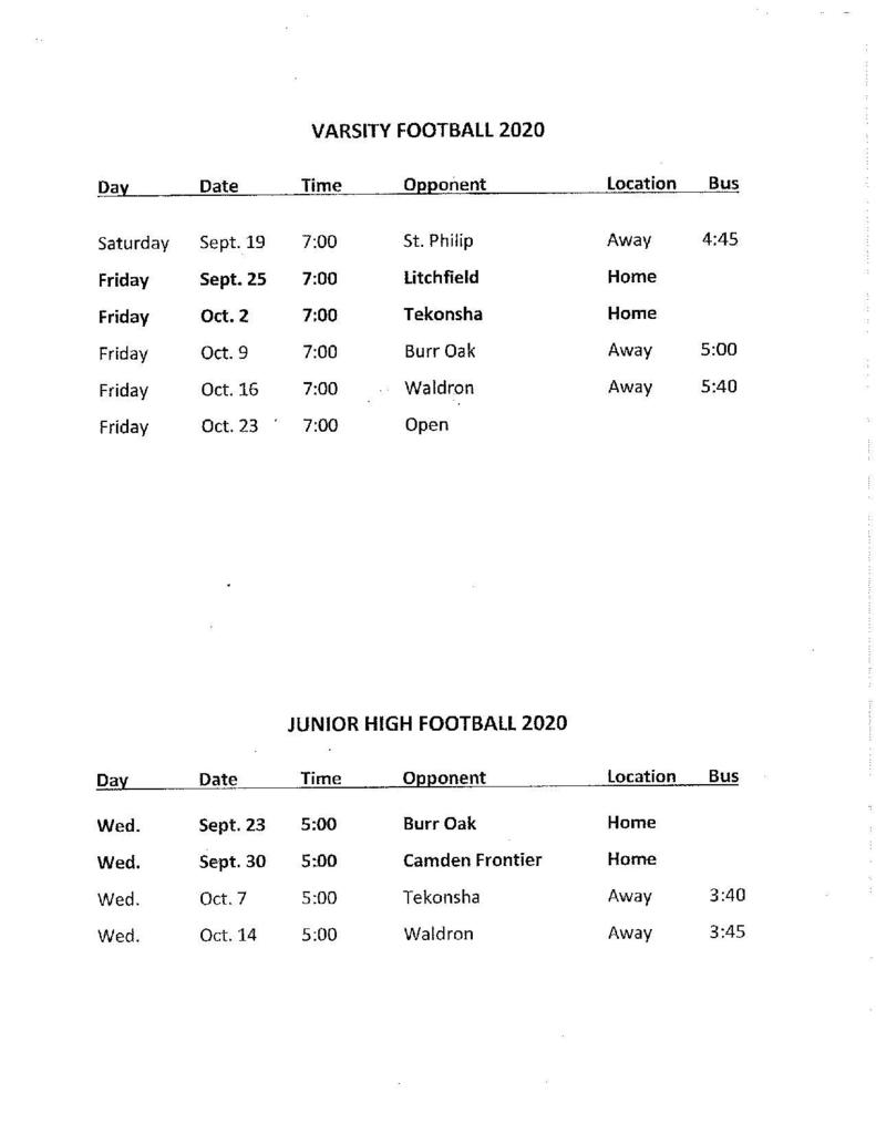 Fall sports schedules